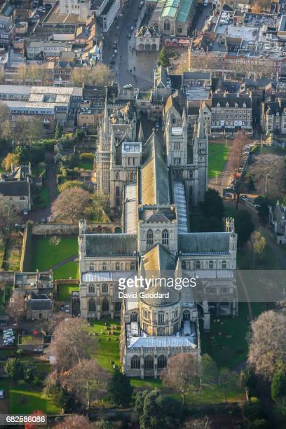 CAMBRIDGE ENGLAND NOVEMBER 30 Aerial photograph of the grade one listed Peterborough Cathedral on October 30 2010 This Romanesque Gothic church dates...