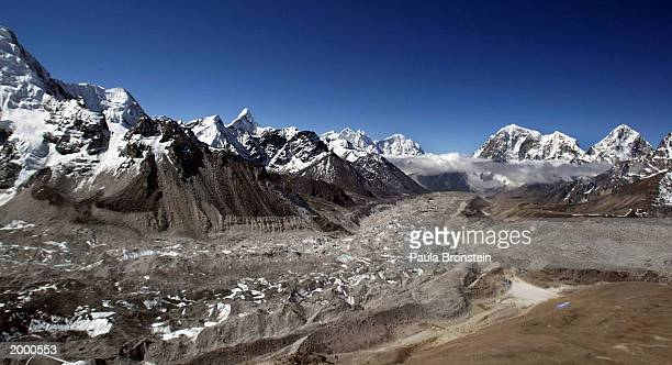 Aerial photograph of the Khumbu Glacier and the Everest Himalayan range May 2003 on the Nepal - Tibet border. A record 1,000 climbers plan assaults...