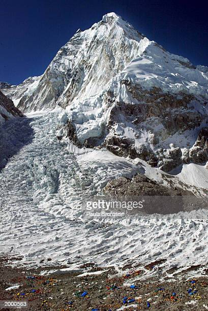 Aerial photograph of the Khumbu Icefall along Everest's West Shoulder May 15 2003 on the Nepal Tibet border A record 1000 climbers plan assaults on...