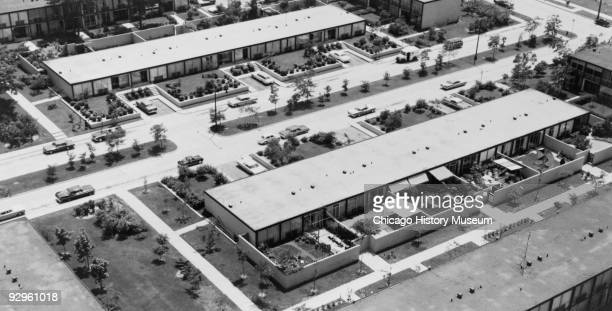 Aerial photograph of the Lafayette Park development in Detroit MI 1974 The complex which includes high and low rise apartment and coop buildings was...