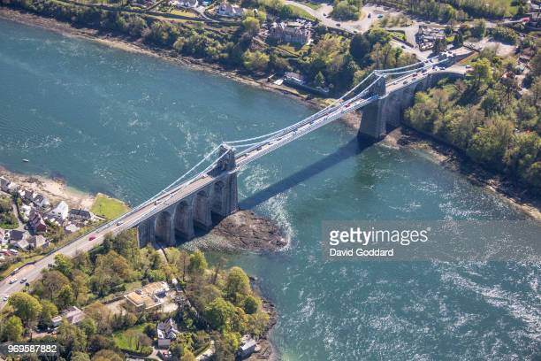 KINGDOM MAY 2018 Aerial Photograph of the Menai Bridge spanning the Menai Strait linking the island of Anglesey to mainland of Wales on May 5th...