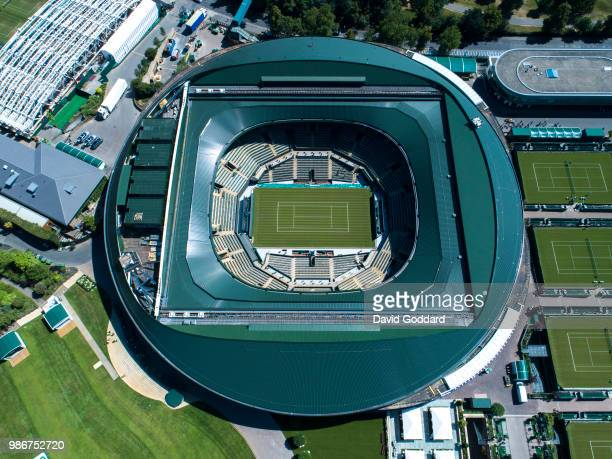 Aerial Photograph of the No.1 Court at the All England Lawn Tennis Club, Wimbledon on June 27th, 2018. Aerial Photograph by David Goddard/Getty Images