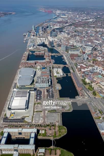 KINGDOM MAY 2018 Aerial photograph of the Queens Dock Wapping Dock and Albert Dock on May 5th 2018 Located to the south west of Liverpool City Centre...