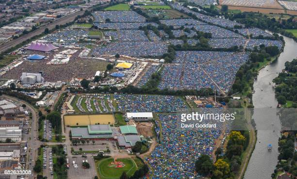 Aerial photograph of the Reading Rock Festival on the banks of River Thames, North east of the city centre.