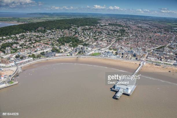 KINGDOM JULY 2017 Aerial photograph of the seaside town of WestonSuperMare and the Grand Pier on August 15th 2017 It is located on the southern bank...