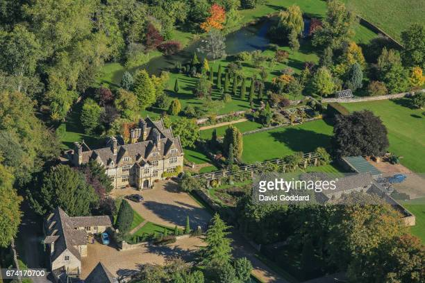 KINGDOM OCTOBER 04 Aerial photograph of the Upper Slaughter Manor the former home of the Slaughter family on October 04 2010 This Elizabethan manor...