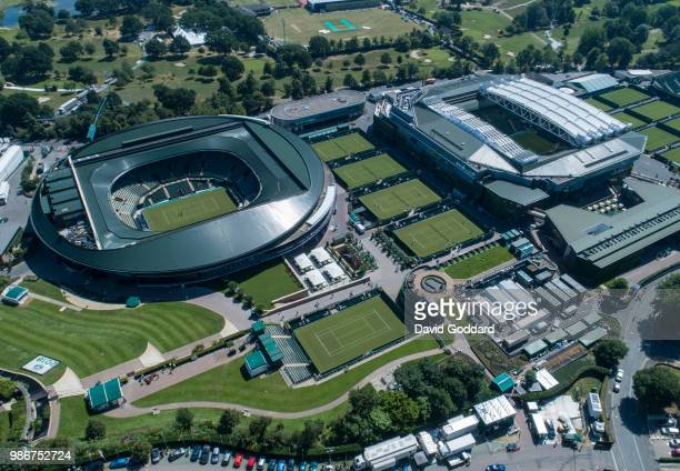 WIMBLEDON UNITED JUNE 2018 Aerial Photograph of the Wimbledon All England Lawn Tennis Club on June 27th 2018 Aerial Photograph by David Goddard/Getty...