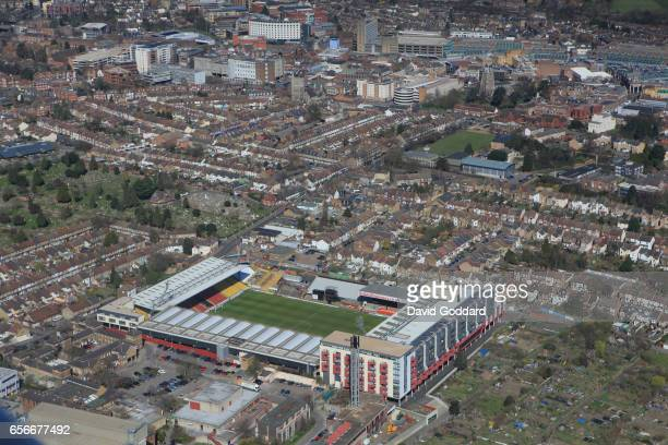 WATFORD ENGLAND MARCH 26 Aerial photograph of Vicarage Road Home Ground of Watford Football Club on March 26 2012