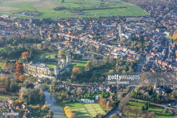 Aerial Photograph of Warwick Castle, this mediaeval fortification is located10 miles south-west of Coventry, on the southern side of Warwick town,...