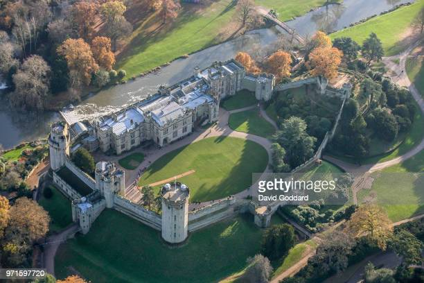 WIARWICKSHIRE ENGLAND Aerial Photograph of Warwick Castle this mediaeval fortification is located10 miles southwest of Coventry on the southern side...