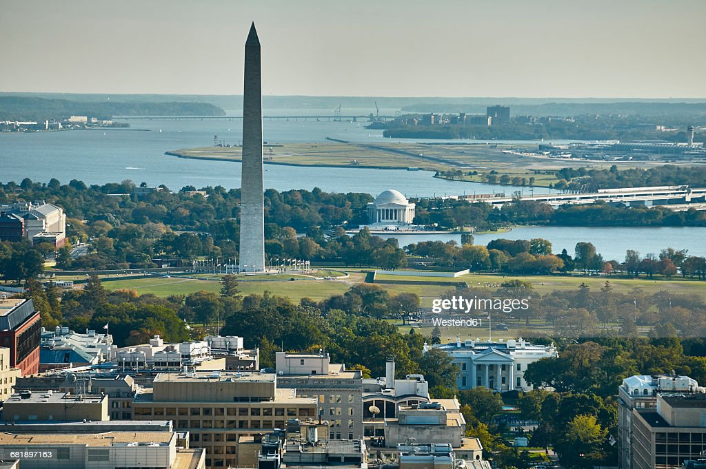 USA, Aerial photograph of Washington, D.C. showing The White House, Washington Monument, Jefferson Memorial, Potomac River and National Airport : Stock Photo