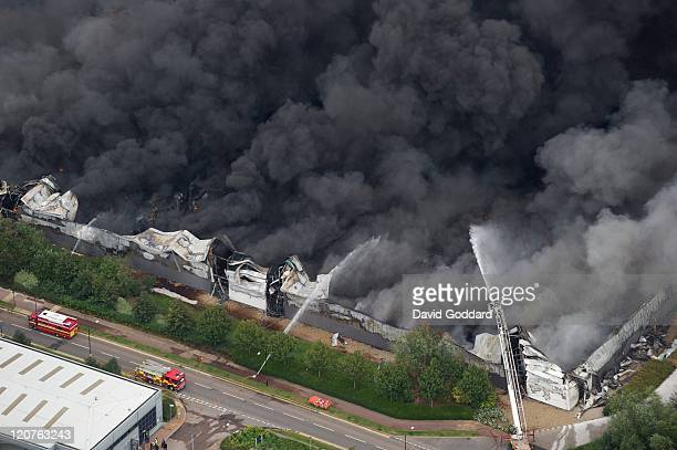 Aerial photograph taken north east of the centre of London where the Sony distribution centre in Enfield is engulfed in fire on the 9th August, 2011...
