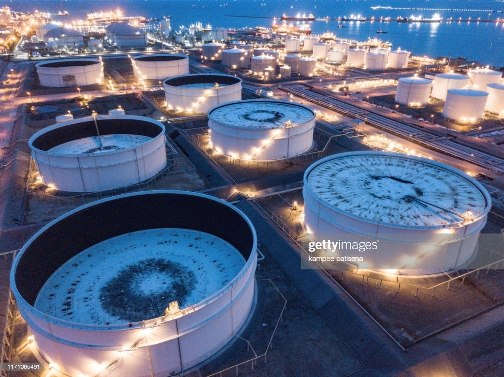 Aerial photographs of oil refineries plants, gas tank, oil tank. : Stock Photo