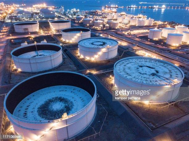 aerial photographs of oil refineries plants, gas tank, oil tank. - crude oil stock pictures, royalty-free photos & images