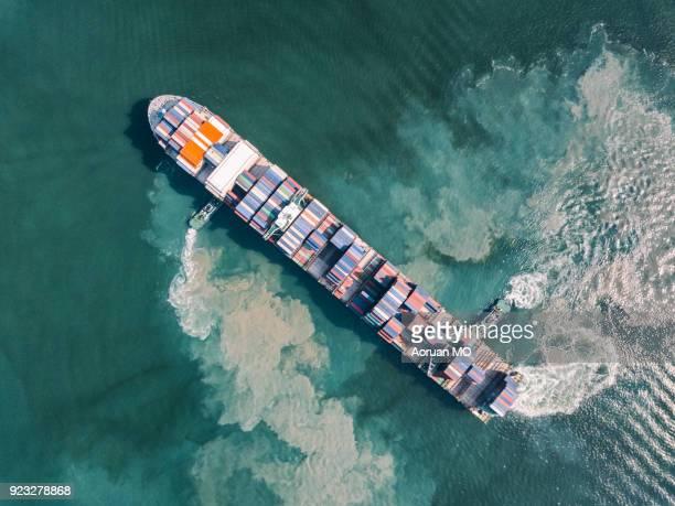 Aerial photography cargo ship