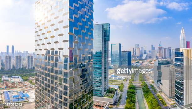 aerial photography china shenzhen skyscraper - shenzhen stock pictures, royalty-free photos & images