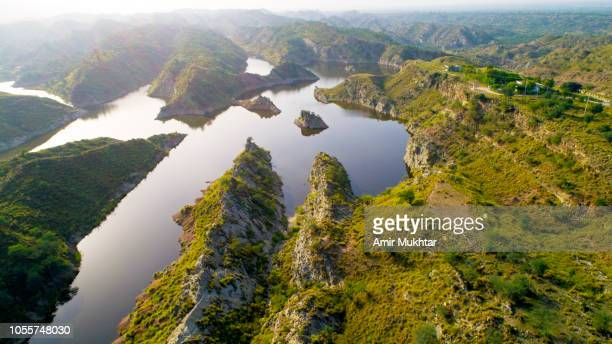 aerial photography of a dam from drone - punjab pakistan stock pictures, royalty-free photos & images