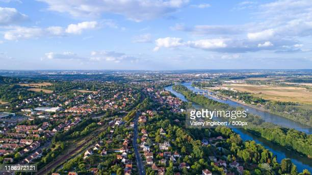 aerial photography of andresy city - yvelines stock pictures, royalty-free photos & images