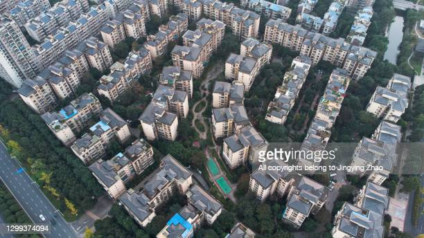 aerial photography of dense residential areas in chinese cities - chinese culture stock pictures, royalty-free photos & images