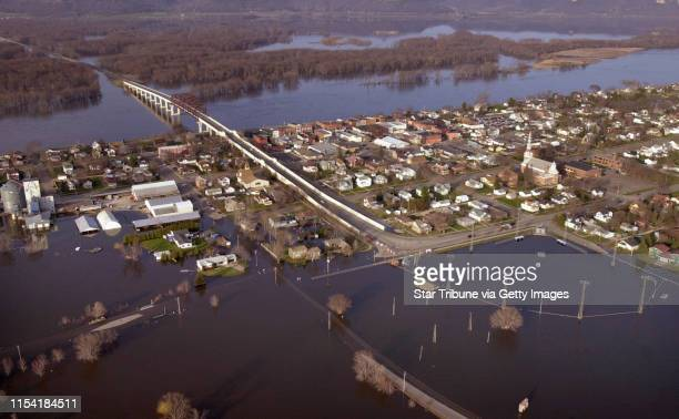 Aerial photography of flooding in the metroeast area and south along the Mississippi River valley including Stillwater Red Wing Lake Pepin Wabasha...