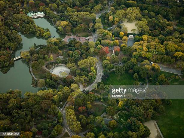 aerial photography of  manhattan, central park - michael stock photos and pictures