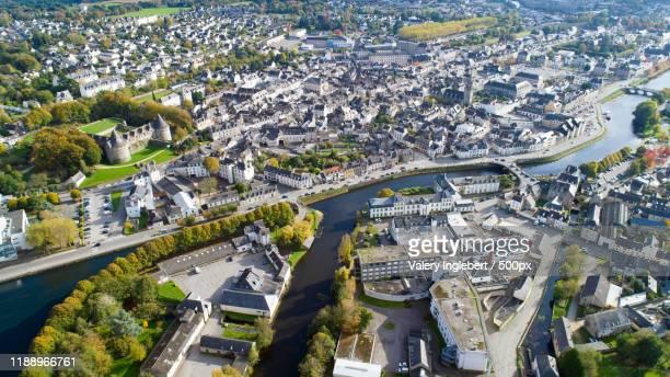 aerial photography of pontivy, france - golfe du morbihan photos et images de collection