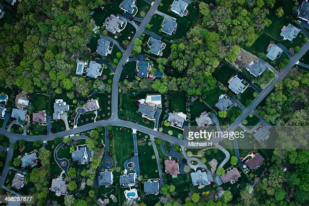 aerial photography of suburbs, ny - residential district stock pictures, royalty-free photos & images