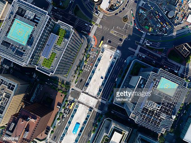 aerial photography of tokyo station - helipad stock photos and pictures
