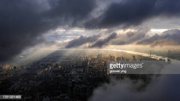 aerial photography shanghai skyline panorama - shanghai stock pictures, royalty-free photos & images