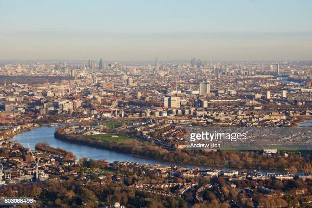 Aerial photography skyline view east of Chiswick, Hammersmith and Barnes. London, W4,W6,SW13, UK.
