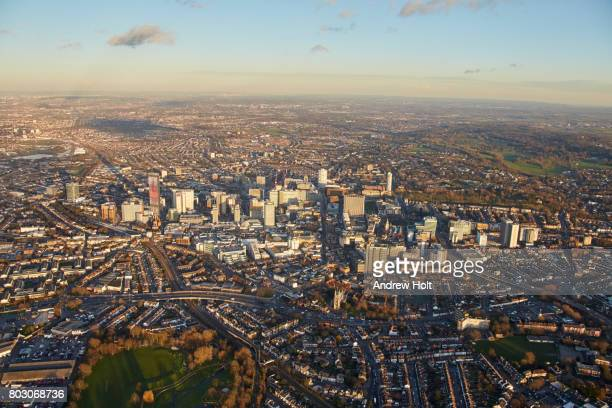 aerial photography skyline view north-east of croydon, cr0, cr9, uk. - east stock photos and pictures