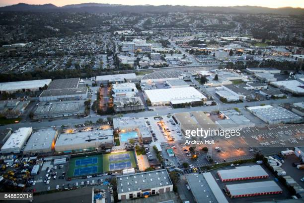 aerial photography view by twilight south of burlingame village in the san francisco bay area. california, united states. - distrito industrial - fotografias e filmes do acervo