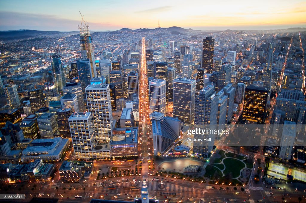 Aerial Photography View By Twilight South Of San Francisco