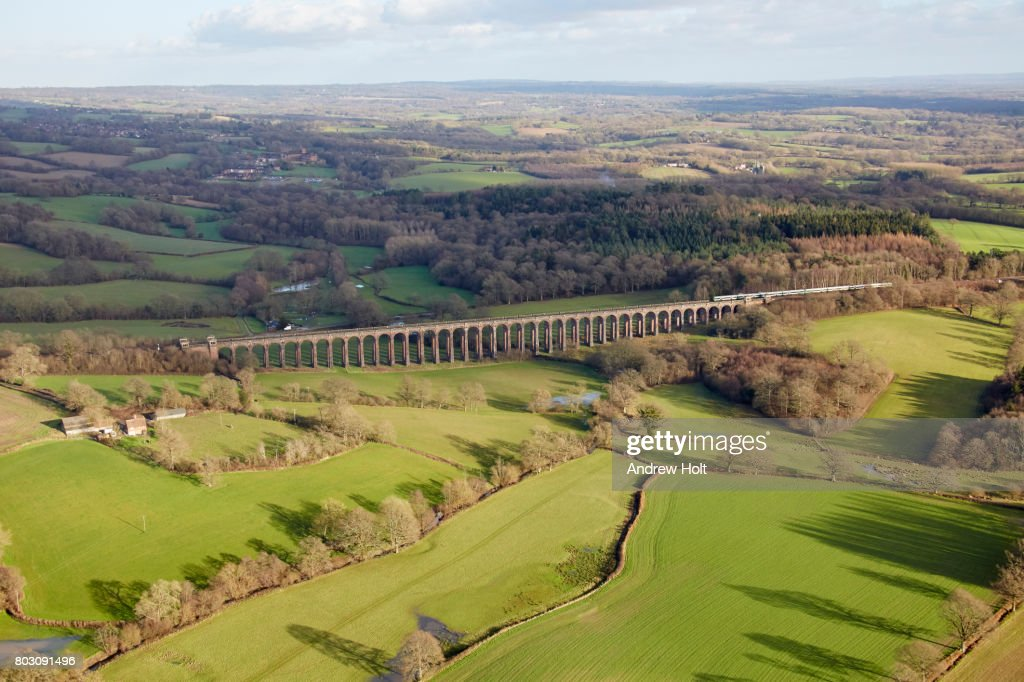 Aerial photography view east of a railway in Balcombe. Ardingly Haywards Heath RH17, UK. : Stock Photo