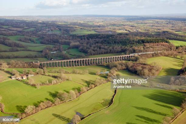 Aerial photography view east of a railway in Balcombe. Ardingly Haywards Heath RH17, UK.