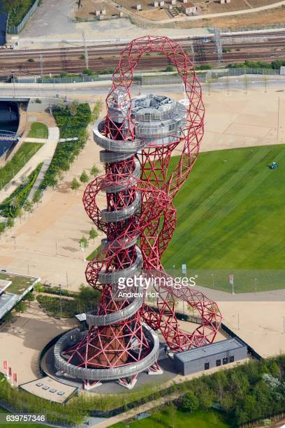 Aerial photography view east of Arcelor Mittal Orbit. E20  London UK