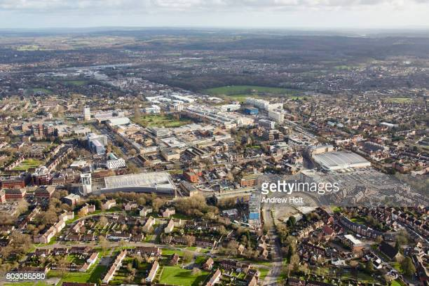 aerial photography view east of crawley, rh10 1ff, uk. - west sussex stock pictures, royalty-free photos & images