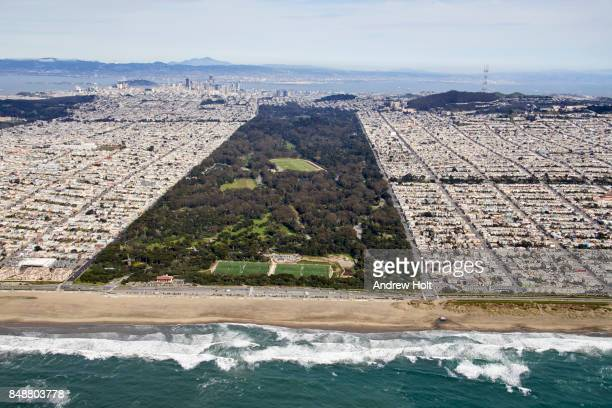 Aerial photography view east of Golden Gate Park,  South Sunset District, San Francisco Bay Area. California, United States.