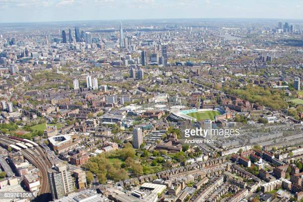 aerial photography view east of lambeth, the oval. london sw8 se11 uk. - oval kennington stock pictures, royalty-free photos & images