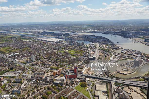 Aerial photography view east of London City Airport and Royal Victoria Dock. E13 E16 London UK.