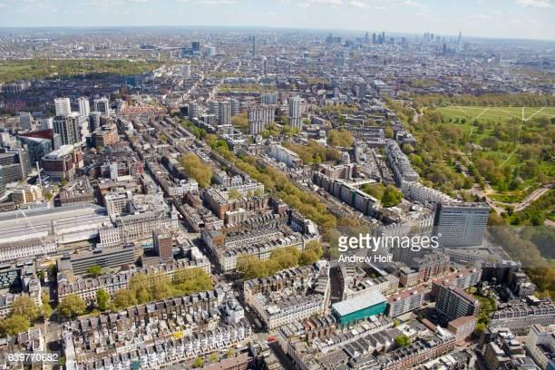 aerial photography view east of marylebone and paddington. london w2, uk. - paddington london stock pictures, royalty-free photos & images
