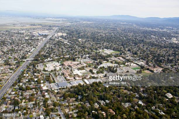 Aerial Photography view east of Menlo Park, San Francisco Bay Area. California, United States.