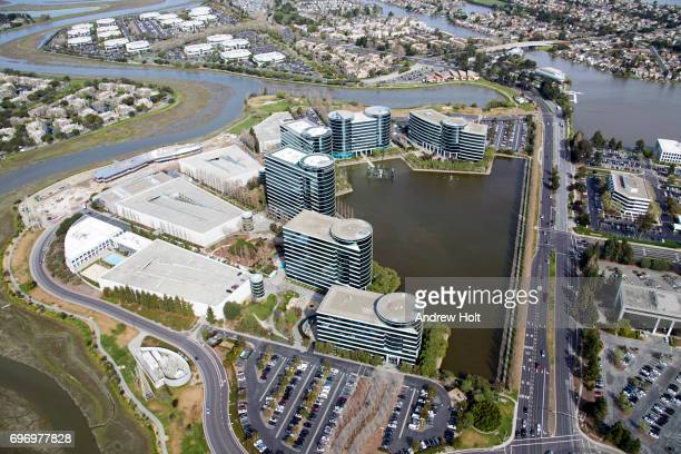 Aerial photography view east of Oracle Headquarters in Redwood Shores, San Francisco Bay Area. California, United States.