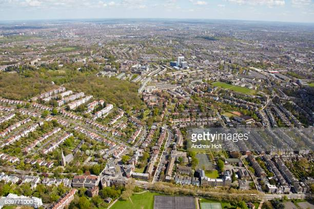 Aerial photography view east of Parliament Hill and Archway. N6 London  UK.