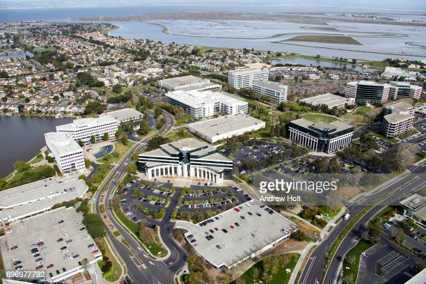 Aerial photography view east of Redwood Shores in the San Francisco Bay Area. California CA 94065, United States.