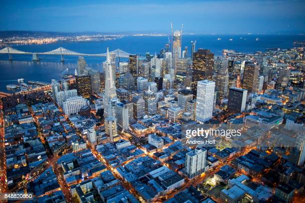 Aerial photography view east of San Francisco Financial District in the evening. San Francisco Bay Area, California, United States.