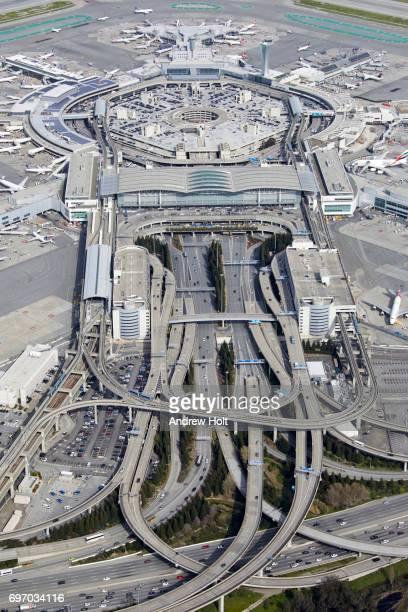 Aerial photography view east of San Francisco International Airport (SFO), San Mateo, San Francisco Bay Area. California, United States.