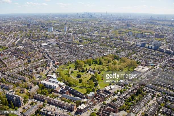 Aerial photography view east of Willesden Lane Cemetery, Kilburn. London NW6 7SD UK.