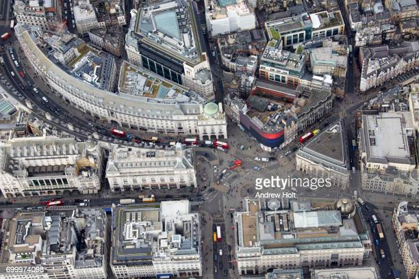 aerial photography view north of piccadilly circus. london, w1d, uk. - piccadilly bildbanksfoton och bilder