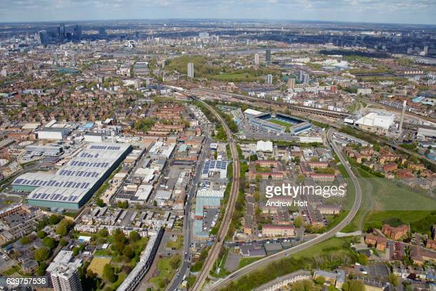 aerial photography view north of south bermondsey.  se14, se15 london uk. - borough of lewisham stock pictures, royalty-free photos & images